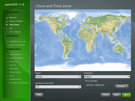 openSUSE 11.0 Yast2 Installer World Clock