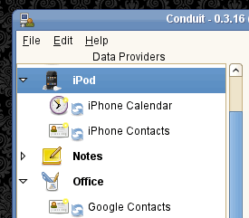 Conduit Data Providers with iPod Touch